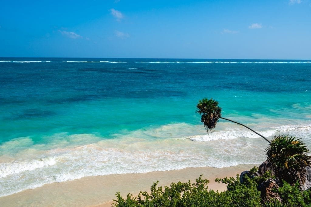 Tulum beach from above as seen on a road trip Yucatan Mexico itinerary
