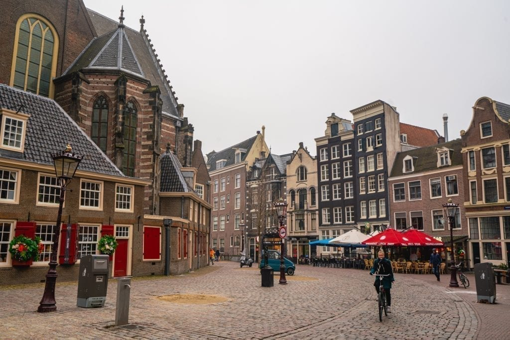 cobblestone street on a cloudy day amsterdam winter