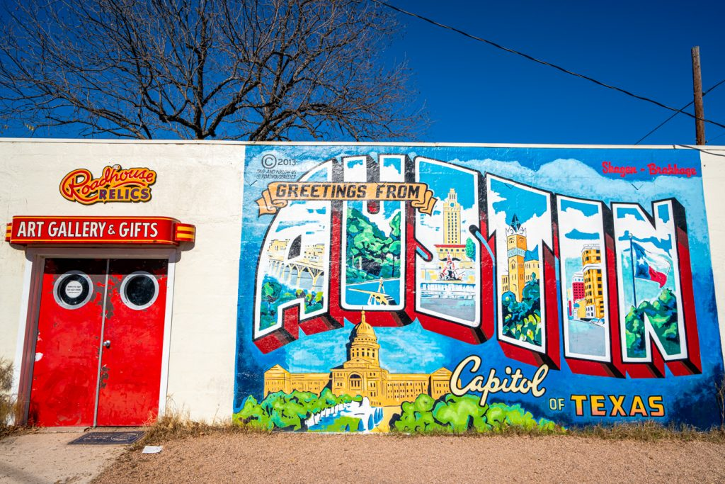 greetings from austin mural in austin texas