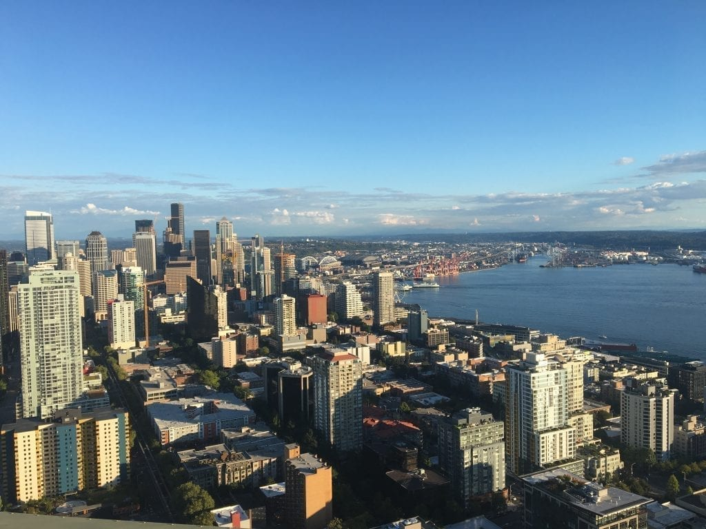 Cityscape view from the top of the Space Needle, a fun place to visit during a long weekend in Seattle itinerary