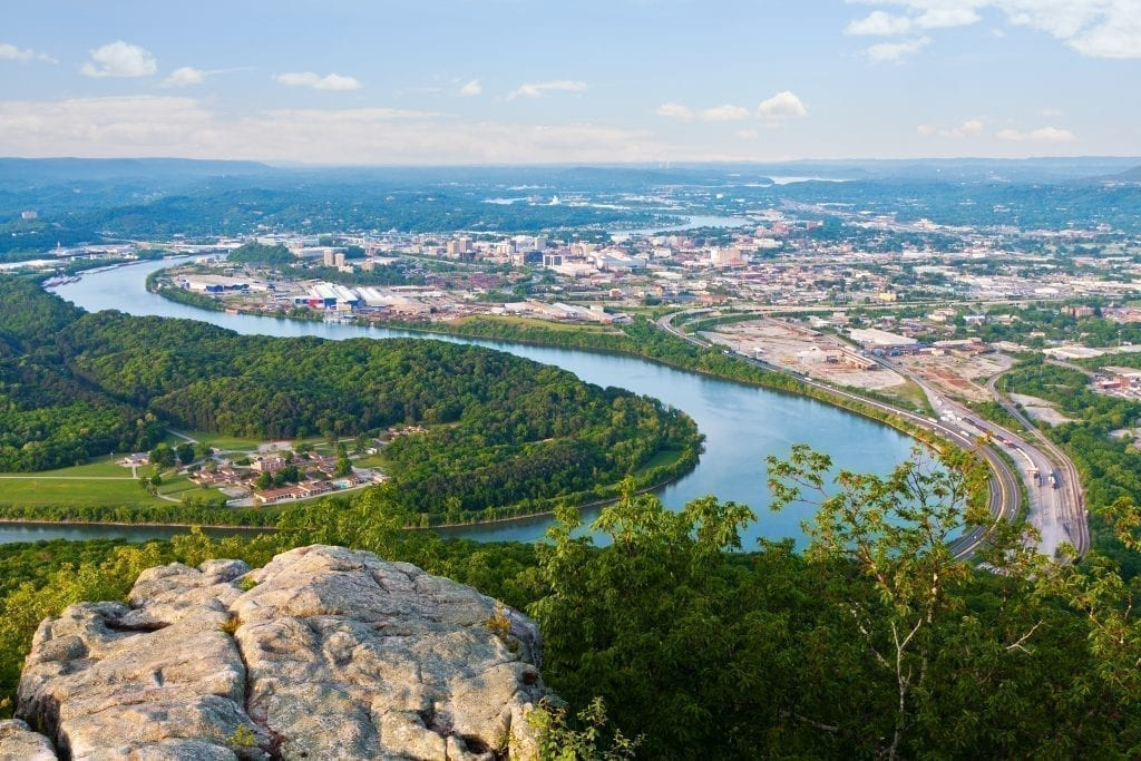 View of Chattanooga Tennesse from above with winding river in the foreground