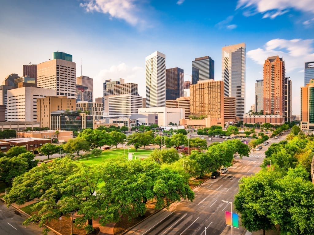Skyline of Houston Texas as seen on a sunny day with a park in the foreground, Houston is one of the best weekend getaways in Texas