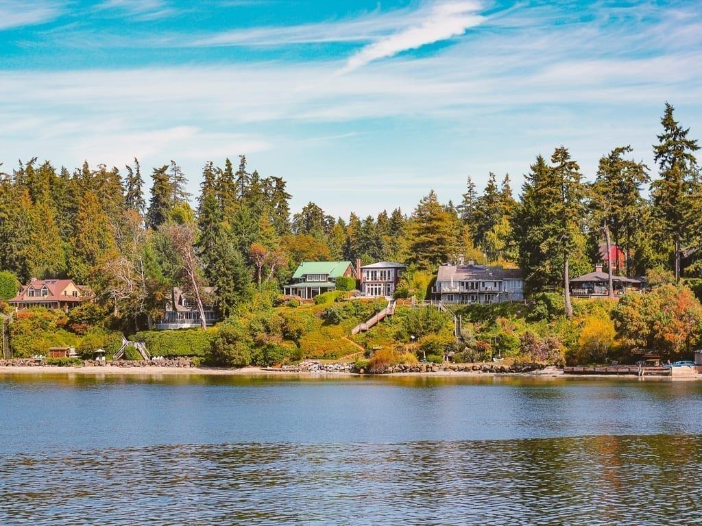 Bainbridge Island near Seattle WA as seen from the water in the early fall