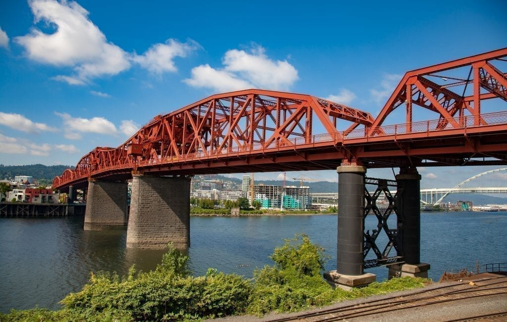 Broadway Bridge in Portland Oregon on a sunny day, a stop on this 3 days in Portland itinerary