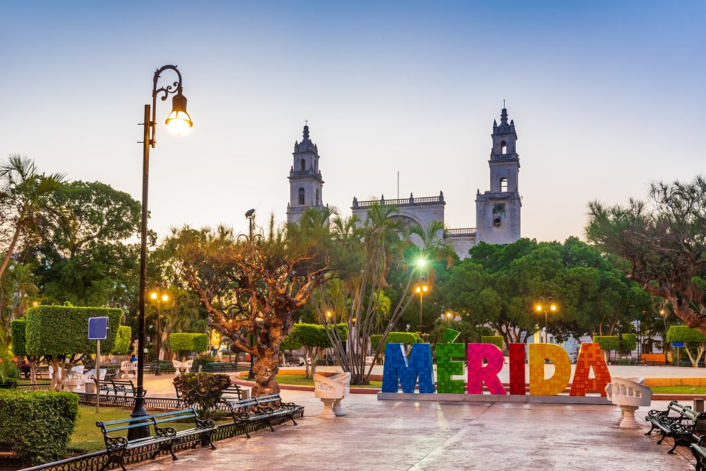 main square of merida mexico at sunset, yucatan travel guide