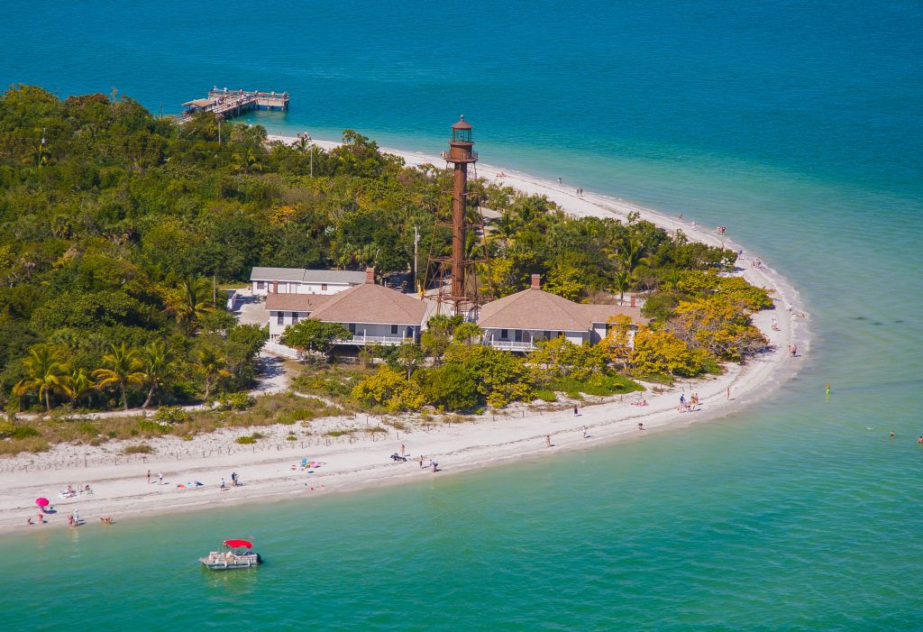 aerial view of sanibel island with lighthouse visible
