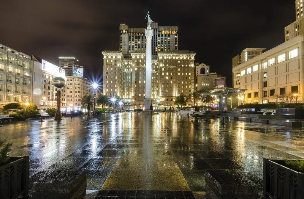 Union Square at night, one of the best places to stay during your 3 day San Francisco weekend getaway