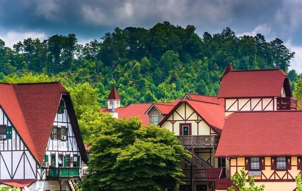 Bavarian-style rooftops in Helen Georgia, one of the best weekend getaways in the south