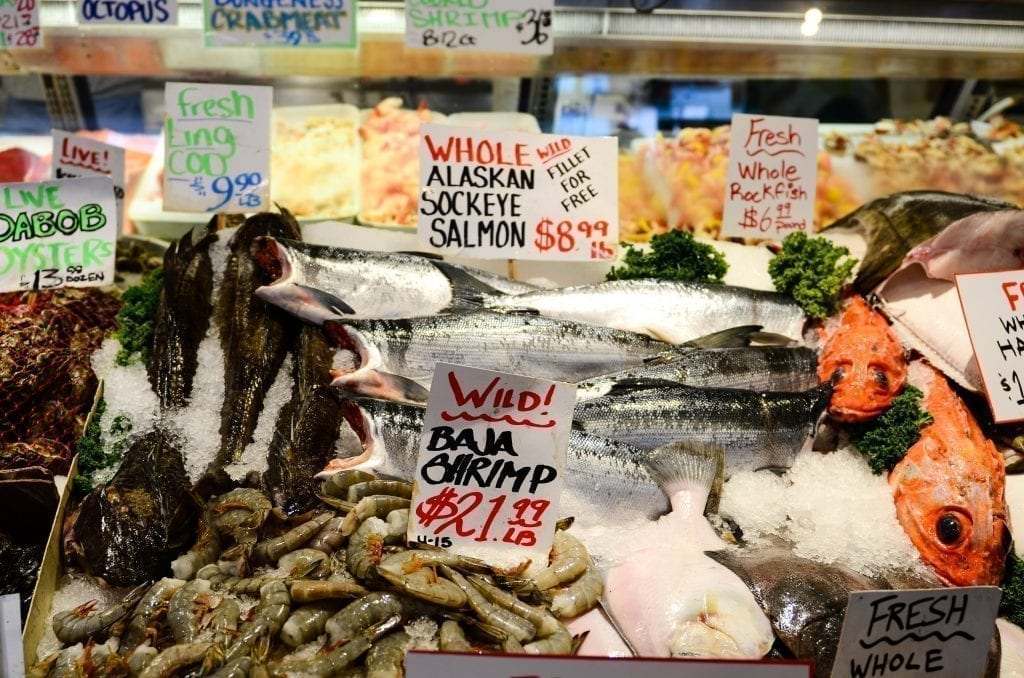 Seafood for sale in Pike Place Market Seattle WA