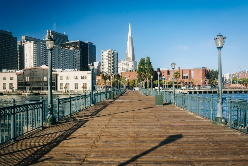 Wooden pier at the Embarcadero, a great place to stop when exploring San Francisco in 3 days