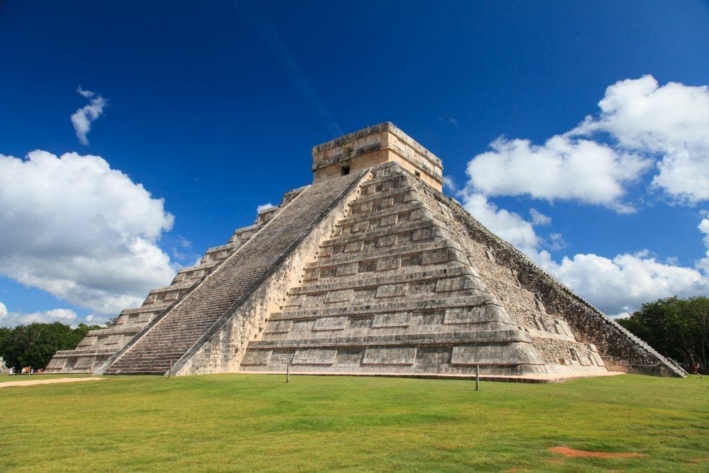 Photo of the main pyramid of Chichen Itza on Mexico Yucatan Peninsula