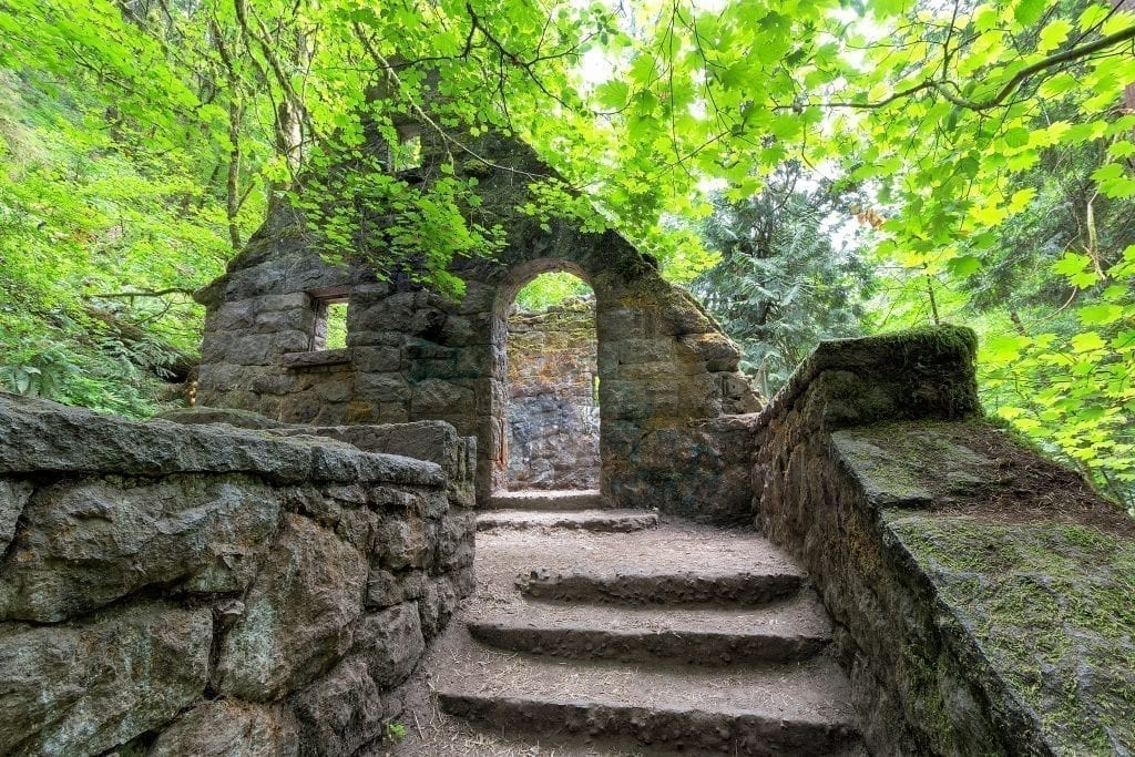 Entrance to the Witch's Castle in Forest Park, which you'll see during your long weekend in Portland itinerary