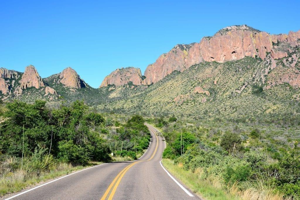 Scenic road in Big Bend National Park, one of the best Texas weekend getaways