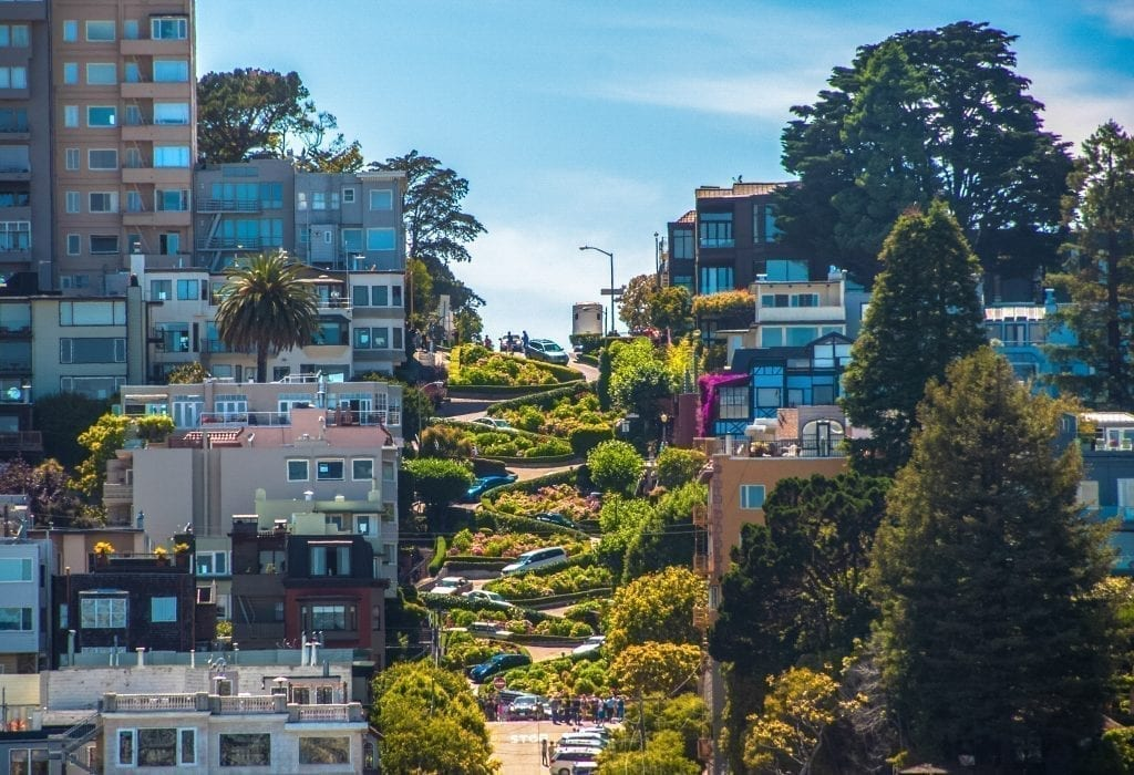 Famous Lombard Street in San Francisco California as seen from the bottom, one of the best things to do in San Francisco CA