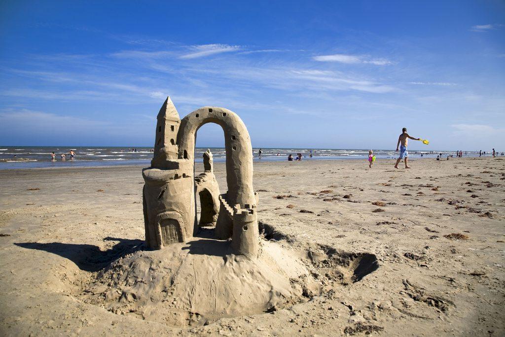 sand castle on the beach in port aransas texas