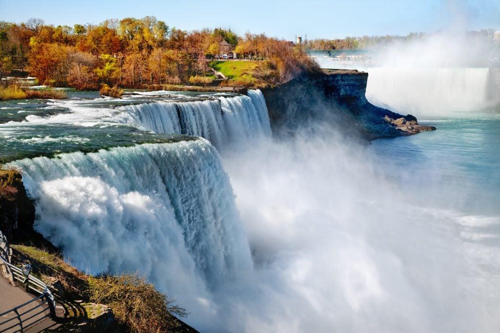 niagara falls as seen from new york in the fall