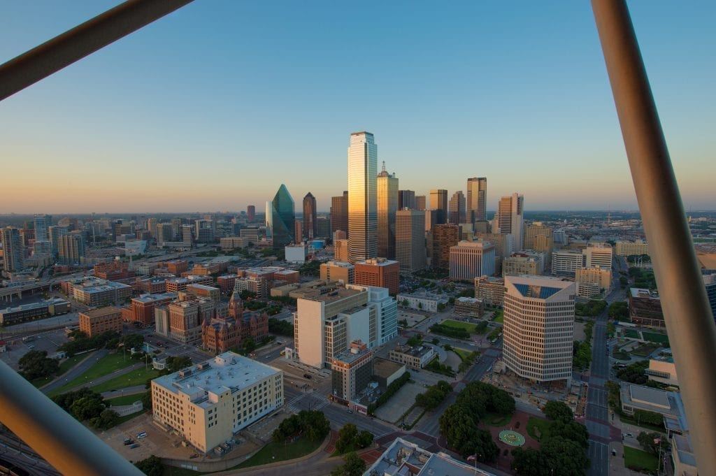 View of Dallas skyline from Reunion Tower, one of the best weekend destinations in Texas