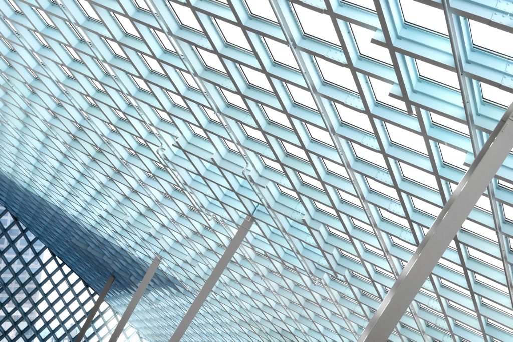 geometric glass design detail in seattle central library