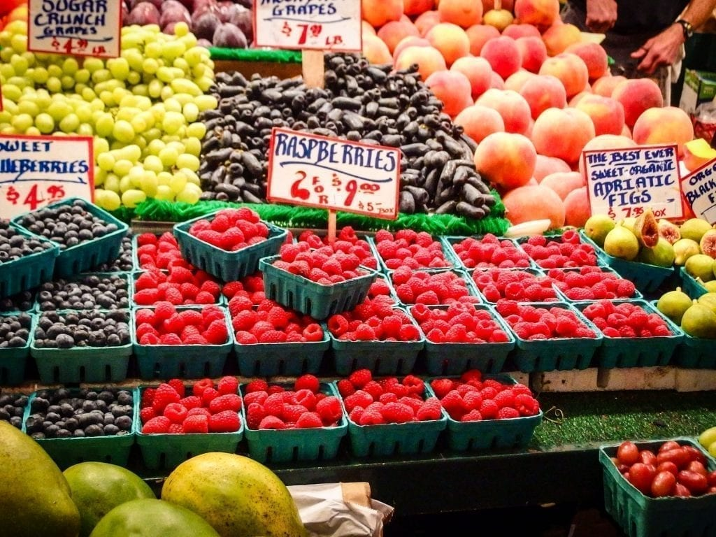Fruit stand in Pike Place Market, one of the first stops on this 3 days in Seattle itinerary
