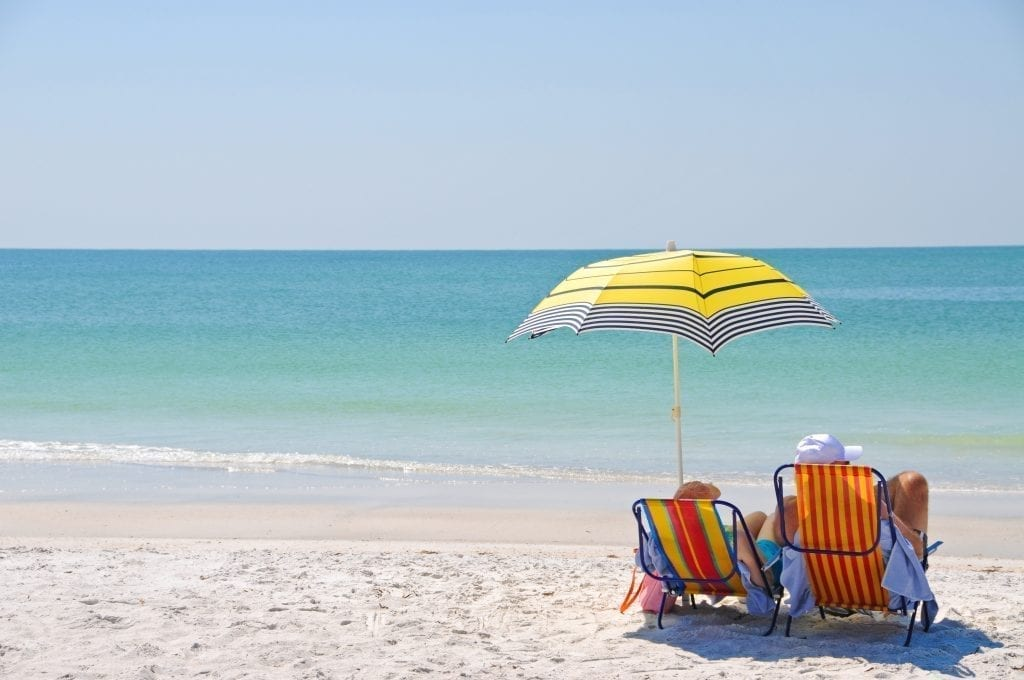 Couple sitting on the beach under a yellow umbrella in Destin Florida, one of the best places to visit in the south