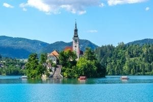 Bled Island in the center of Lake Bled in Slovenia, a must-see during a Slovenia road trip itinerary