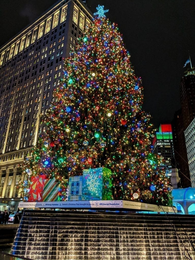 Large Christmas tree in Detroit MI at night, one of the best christmas vacations in us