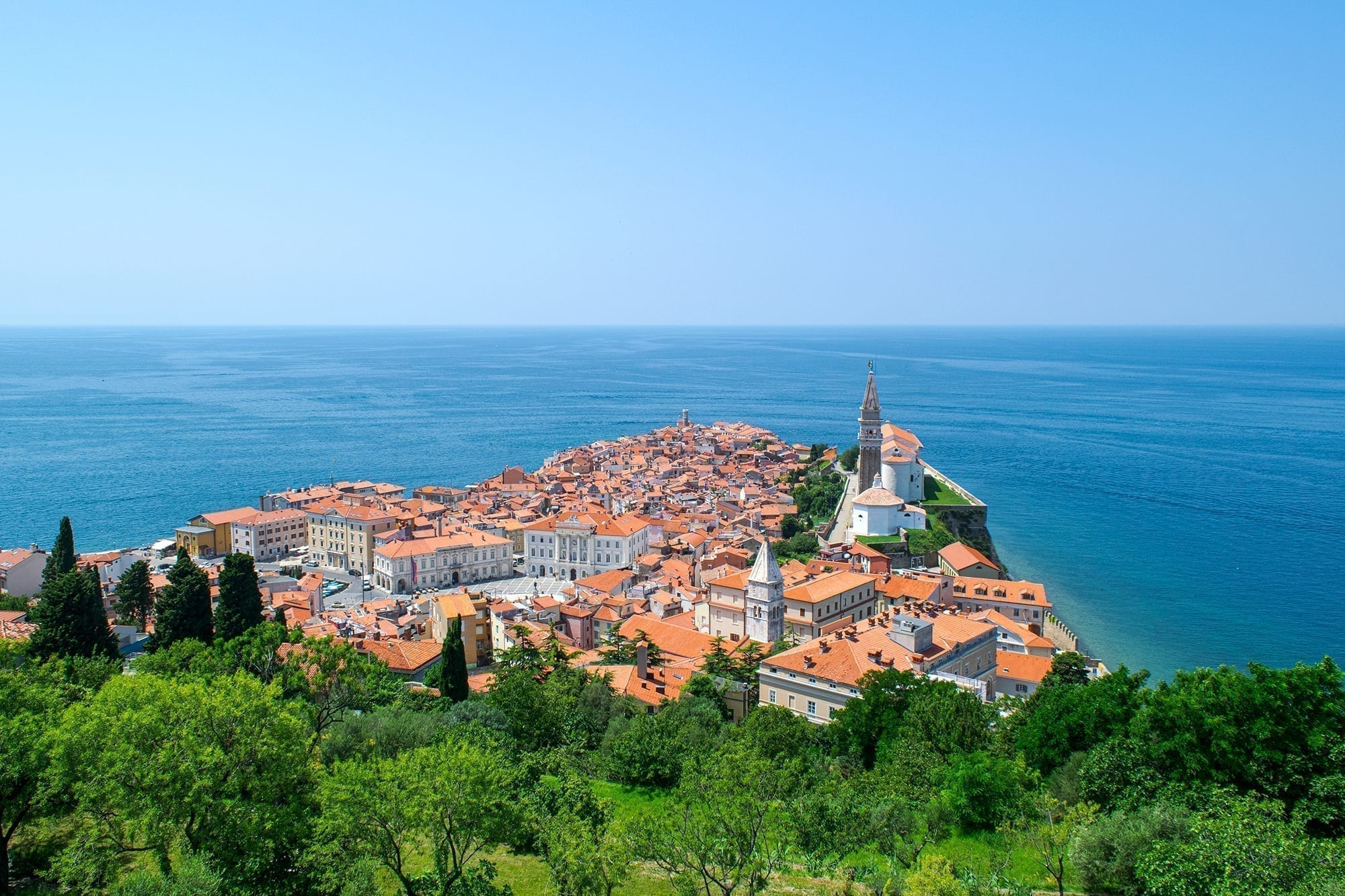 Piran Slovenia as seen from above. Piran is one of the best places to visit in Slovenia