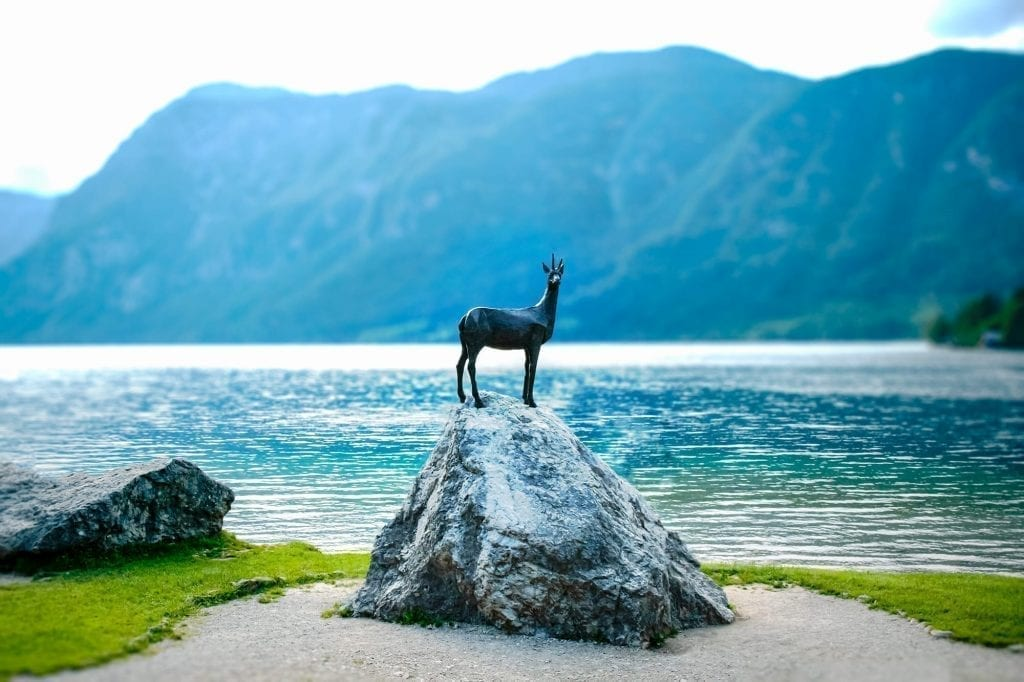 Goldhorn Statue at Lake Bohinj in Slovenia