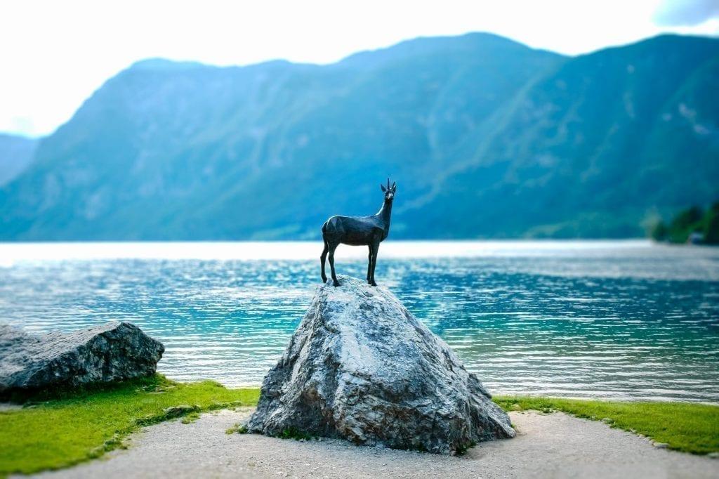 Goldhorn Statue at Lake Bohinj in Slovenia