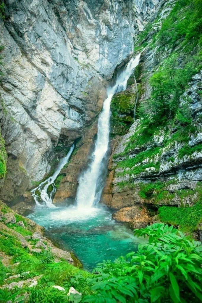 Savica Falls in Slovenia, as seen during a Slovenia itinerary