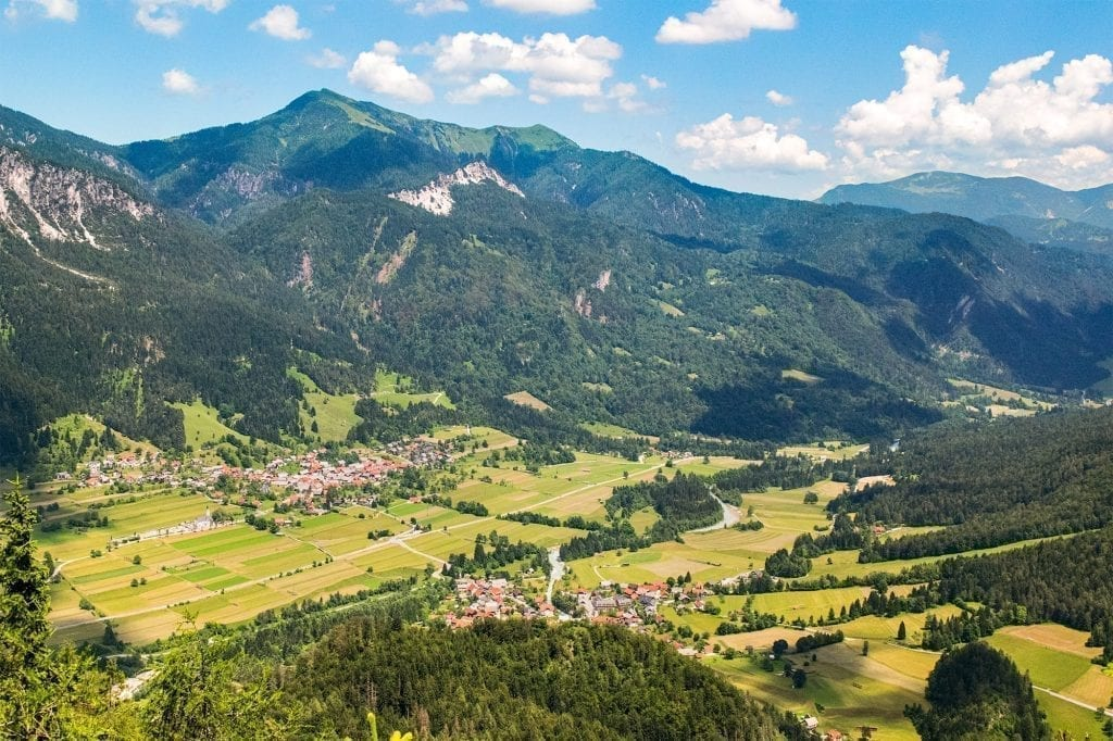 View of villages in Slovenia from above, as seen while hiking in Triglav National Park