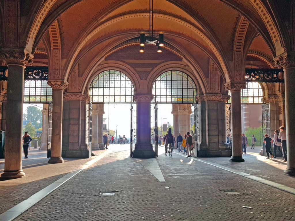 covered walkway near entrance to rijksmuseum, one of the best things to see in amsterdam