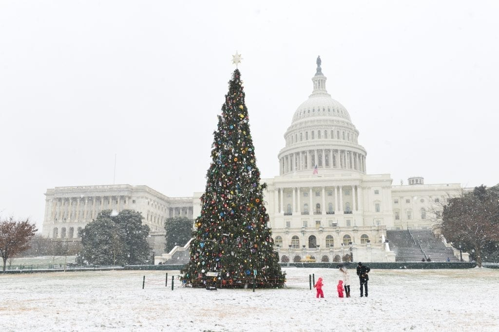 US Capitol Building with a Christmas tree in front of it. The ground is snowy. Washington DC is one of the best christmas trips in the us