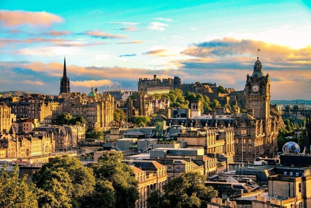 Skyline of Edinburgh Scotland at sunset, one of the most popular places to visit in Europe