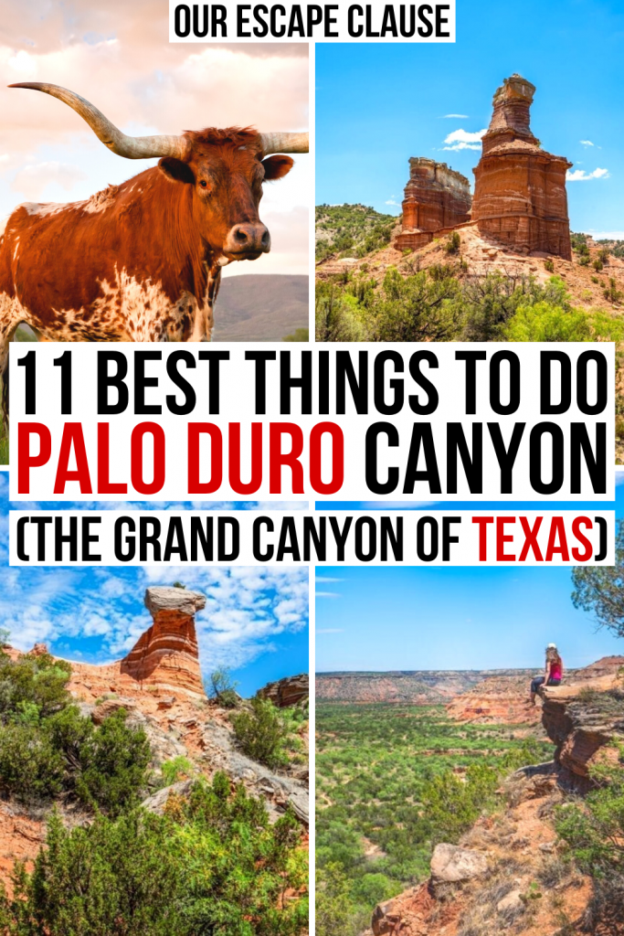 "4 photos of Texas: longhorn, Lighthouse, hoodoo, and girl sitting over Palo Duro Canyon. Black and red text on a white background reads ""11 best things to do in palo duro canyon, the grand canyon of Texas"""