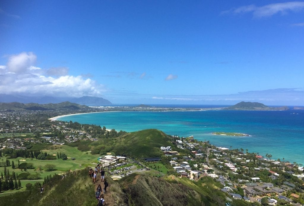 Kailua Beach on Oahu as seen from above, one of the most beautiful beaches in USA