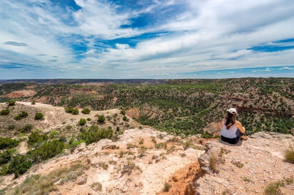 Kate Storm overlooking the Grand Canyon of Texas, aka Palo Duro Canyon