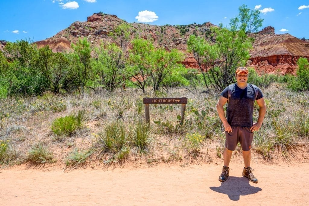Jeremy Storm standing on a sandy section of the Lighthouse trail Palo Duro Canyon