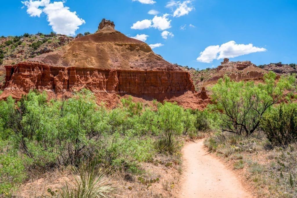 Photo of a sandy stretch of trail. Hiking is one of the best things to do in Palo Duro Canyon State Park