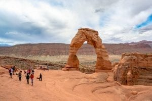 Delicate Arch on a cloudy day, one of the most popular Arches National Park hikes