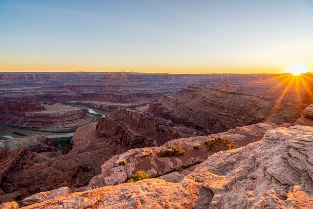 Sunset at Dead Horse Point State Park, one of the best places to visit in Utah
