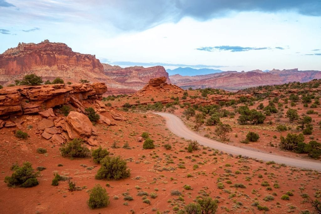 Dirt road in Capitol Reef National Park Utah