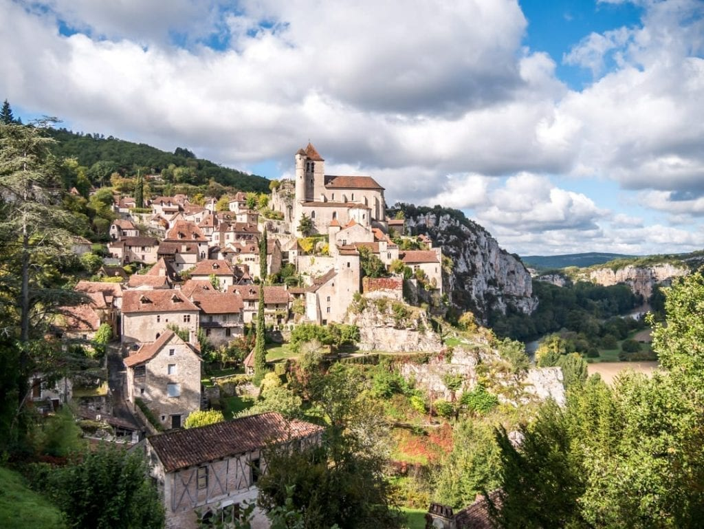 Saint-Cirq-Lapopie as seen from across the valley. One of the most beautiful villages in France.