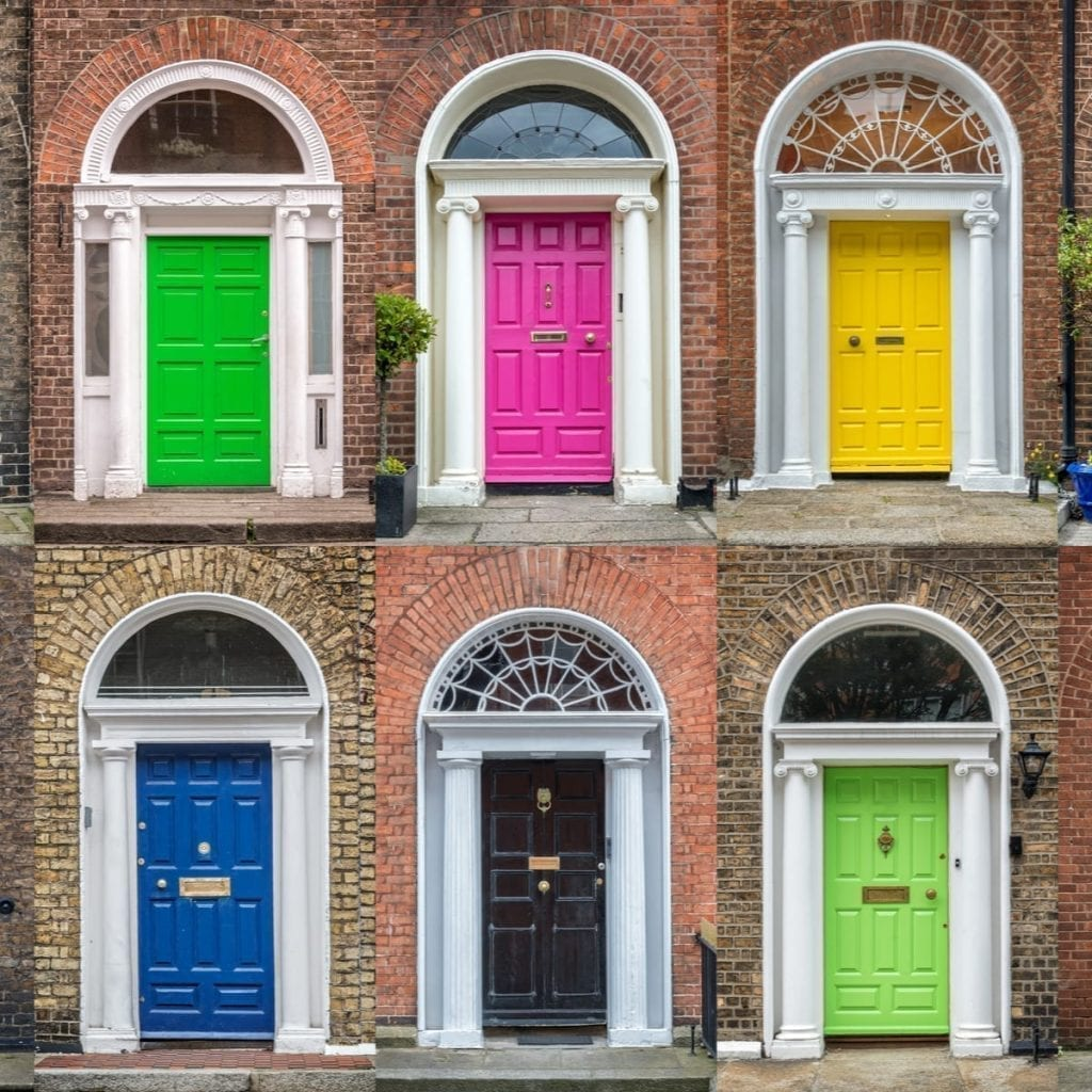 6 colorful doors of Dublin Ireland displayed in a grid pattern