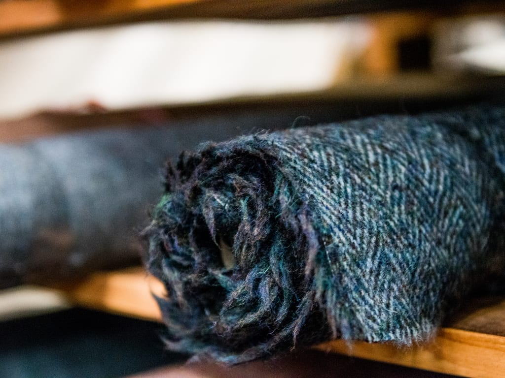 Roll of blue Donegal tweed