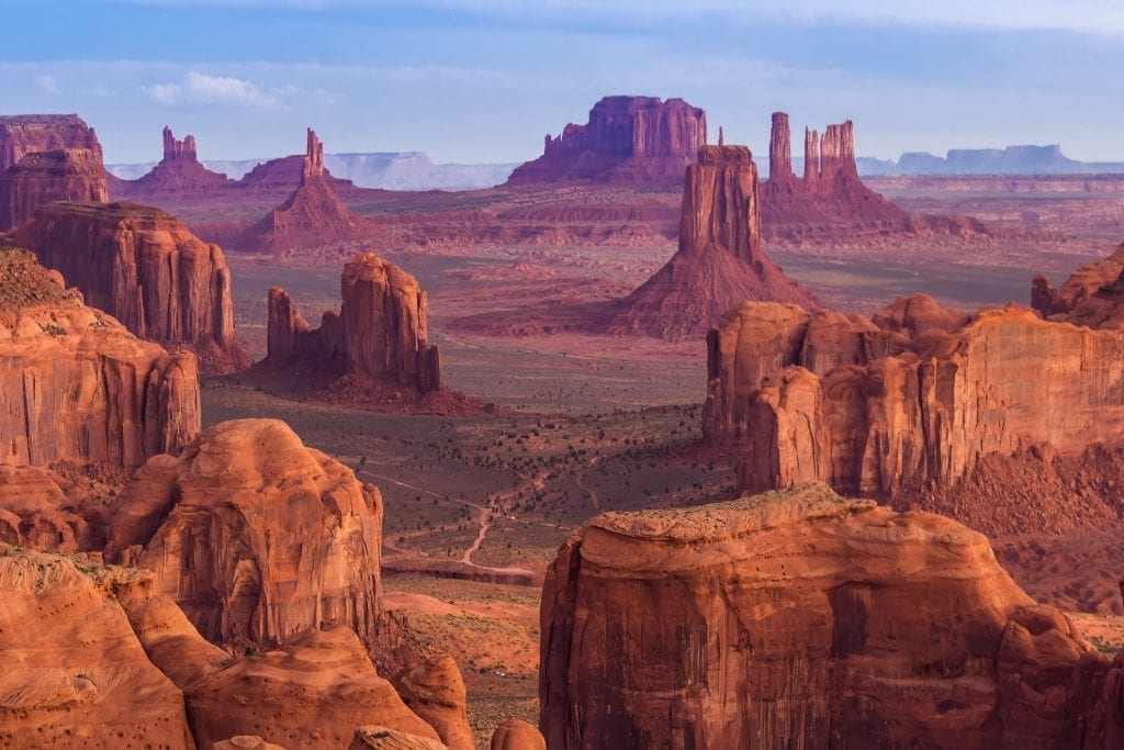 Monument Valley as seen near sunset in Navajo Nation