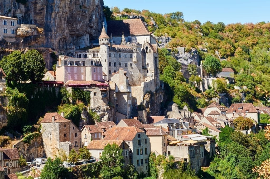 View of Rocamadour, one of the prettiest villages in France, built into a cliffside