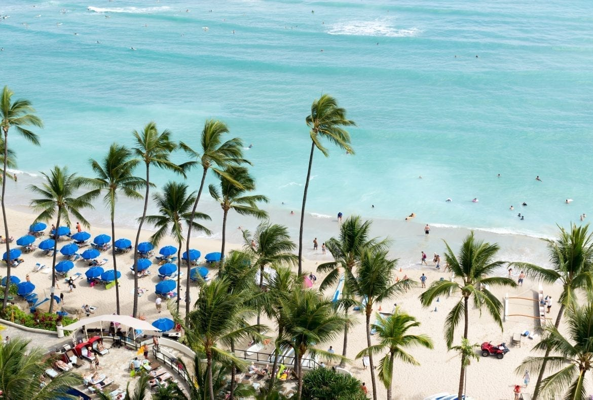 Waikiki Beach shot from above, with palm trees in the foreground and oceans in the background. Waikiki Beach is one of the best beaches in the USA