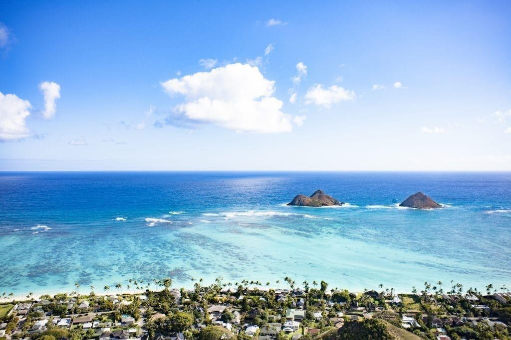 Lanikai beach in Oahu Hawaii as seen from above. One of the best beaches in USA