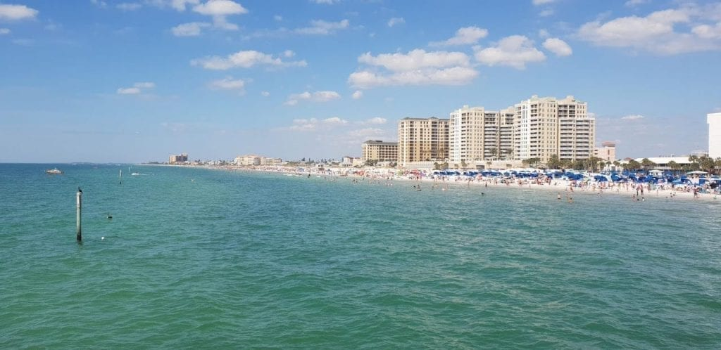 Clearwater Beach, Florida, is one of the best white sand beaches in the USA. As seen from the water.